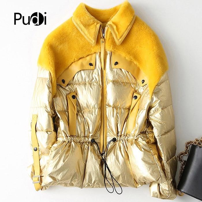 PUDI A18181 Women's Winter Real Wool Fur  Duck Down Warm Jacket Coat Lady Long Coat Jacket Overcoat