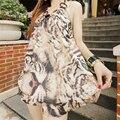 Harajuku Backless tracksuit 2017 New summer Sexy Club Suit Women Kawaii Leopard Print t-shirt + shorts 2 Two piece set women