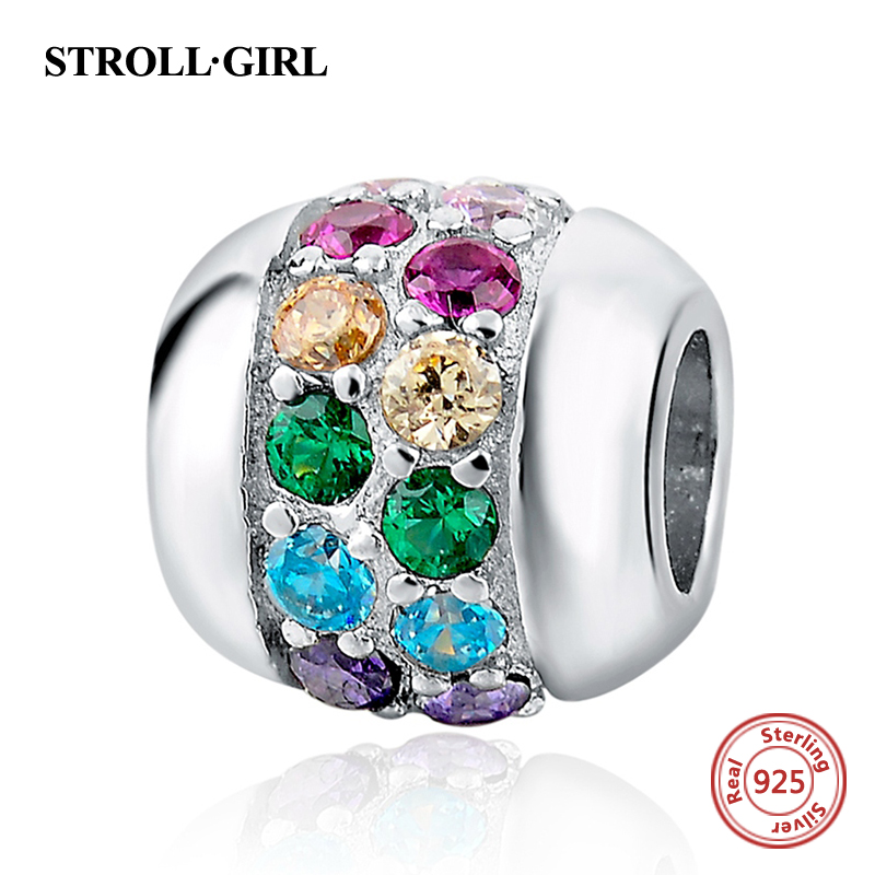 Color CZ Stone Beads Fit Pandora Charms Bracelets Original 925 Sterling Silver Lights Bead For Jewelry Making Women Holiday Gift ...