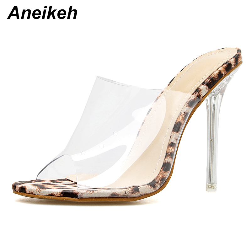 Detail Feedback Questions about Aneikeh Big Shoes Size 41 42 Leopard Print  Sandals Open Toe High Heels Women Transparent Perspex Slippers Shoes Heel  Clear ... 84bd0c7bfc3d