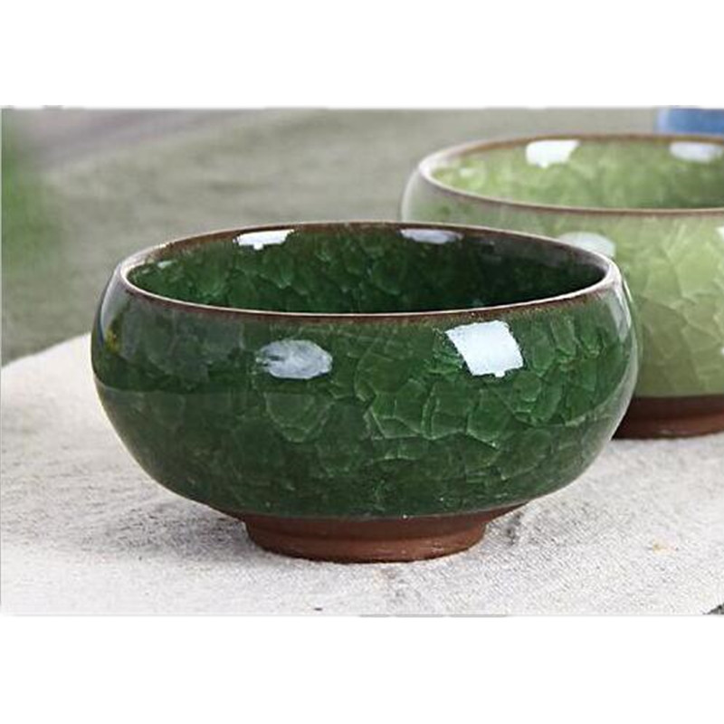 Chinese Kung Fu Tea Cup Set ice crackled Glaze Ceramic cup Travel Tea Bowl Wine Cup Sets with Golden Fish Porcelain mugs 6pcs in Mugs from Home Garden