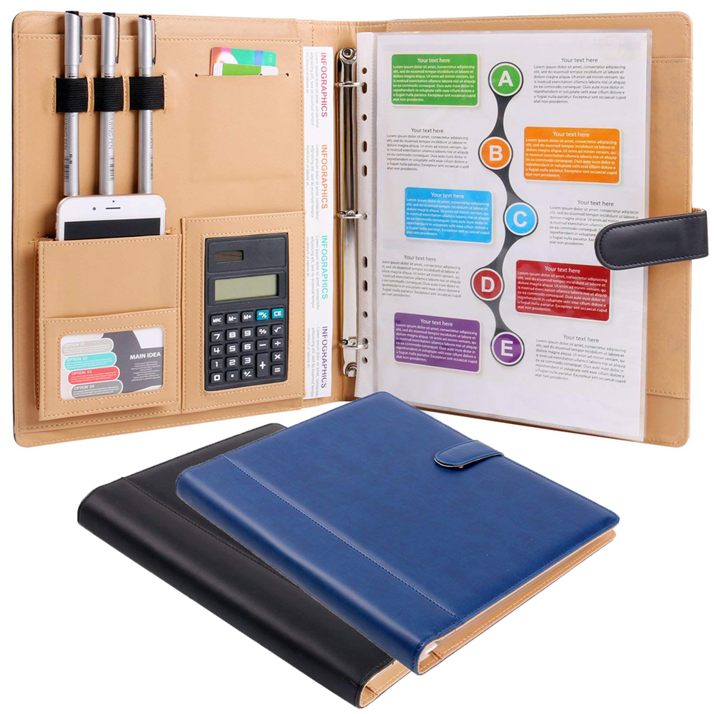 8 Packets PU Portfolio Conference Folder Ring Binder A4