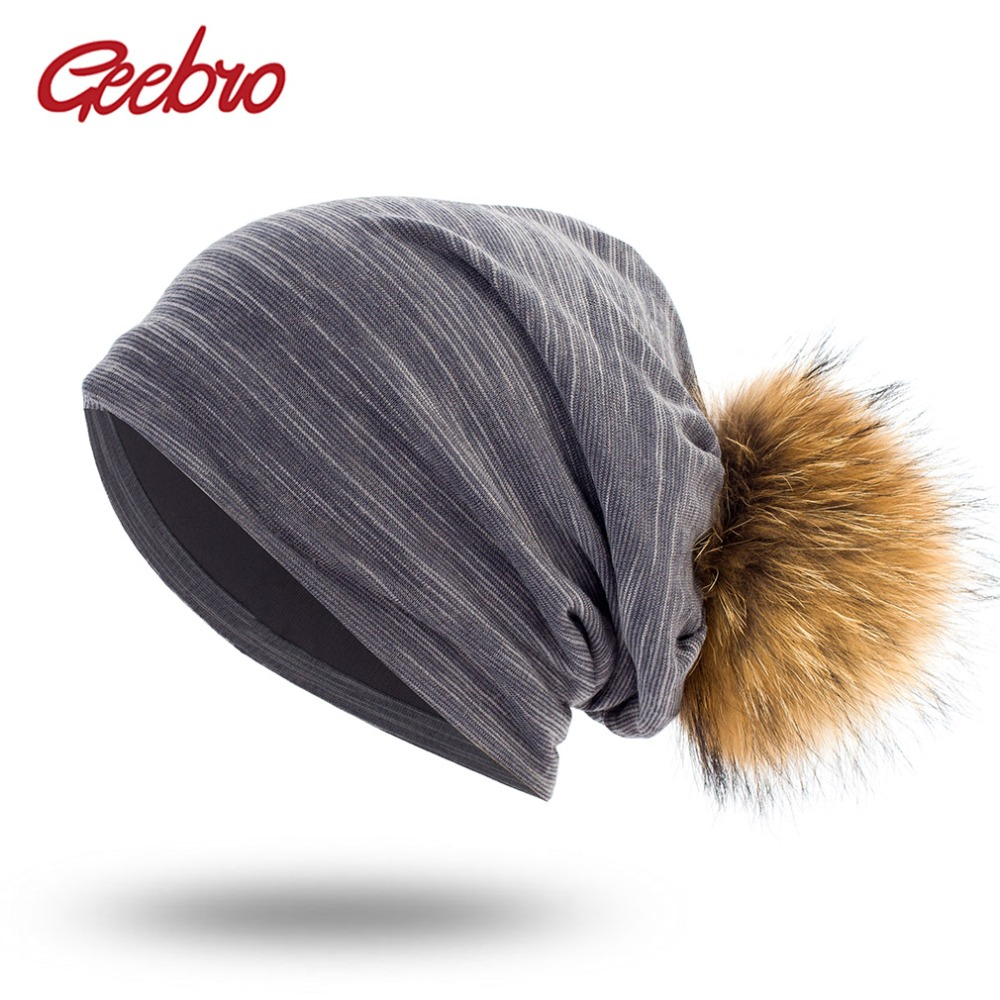 Geebro Women's Plain Color Ribbed Beanie Hat with Raccoon Pompom Spring Casual Knitted Hats For Female Women Skullies Beanie