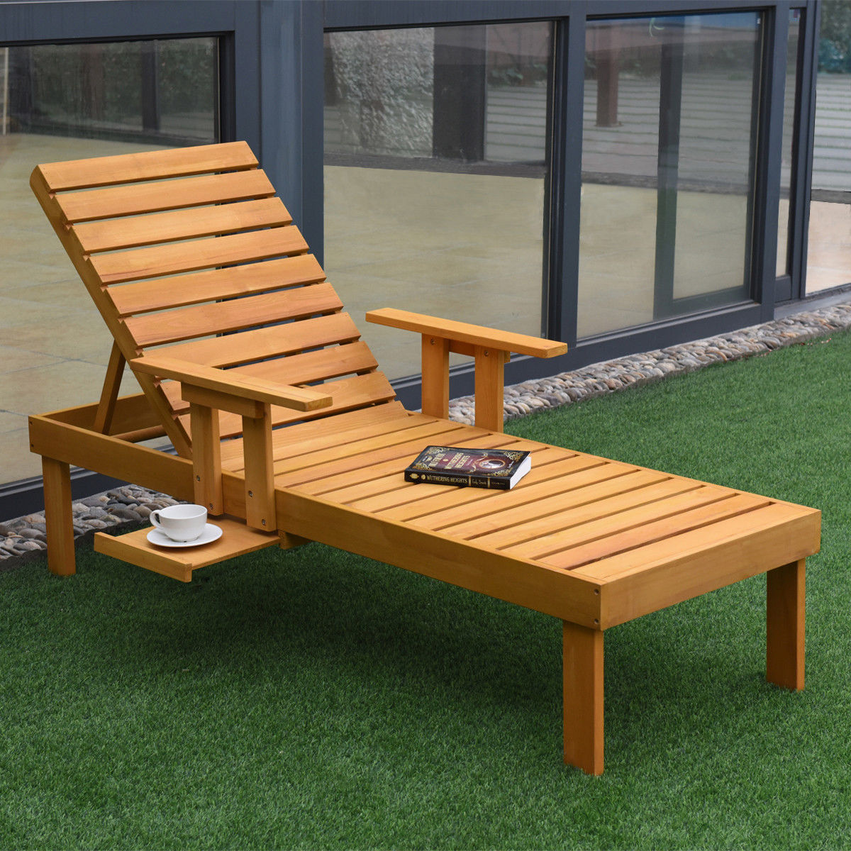 Giantex Patio Chaise Sun Lounger Outdoor Furniture Garden Side Tray Deck Chair Modern Wood Beach Lounge Chair HW56771