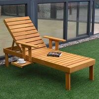 Giantex Patio Chaise Sun Lounger Outdoor Furniture Garden Side Tray Deck Chair Modern Wood Beach Lounge Chair HW56771