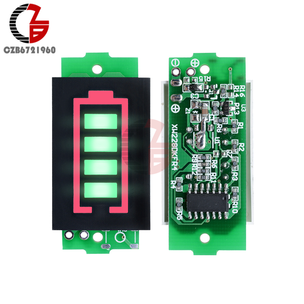 1S/2S/3S/4S/6S/7S Lithium Battery Capacity Indicator Voltmeter Green LED Display Car Motorcycle Power Voltage Tester Meter Panel