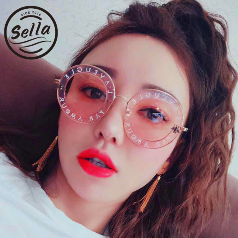 2017 New Fashion Bees Retro Round Letters Transparent Frame Tint Lens Sunglasses Trending Ladies Summer Sun Glasses