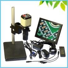 Wholesale LCD Monitor 2MP VGA AV Industrial Cross Line Camera Monocular Video Microscope Digital Eyepiece + Ring Light + 100X Lens + Mount