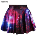 Retro Style High Waist Women Mini Skirts Elegant Universe Stars Printing Skirts 2017 All Match Loose Saias Colorful Jupe Femme