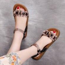 Новое поступление, женские летние туфли из натуральной кожи на низком каблуке, женские офисные сандалии с цветочным принтом, AH19689