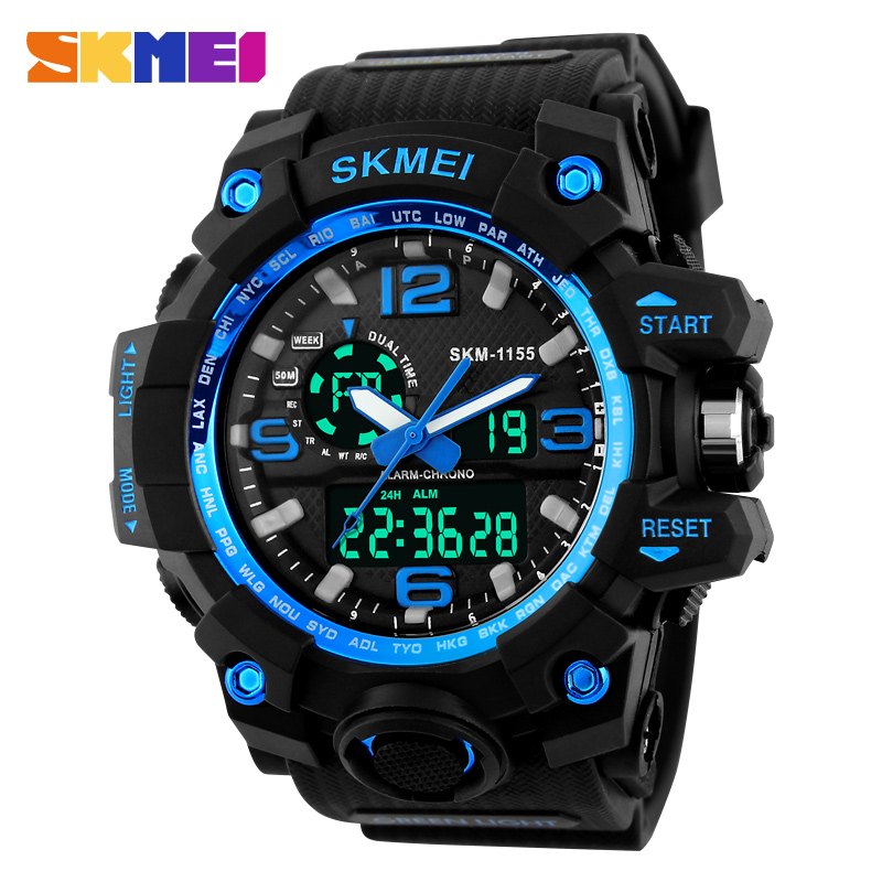 1155 Big Dial Shock Military Sport Watches For Men PU Watch Strap Waterproof Dual Time Digital-Watch Relojes Hombre