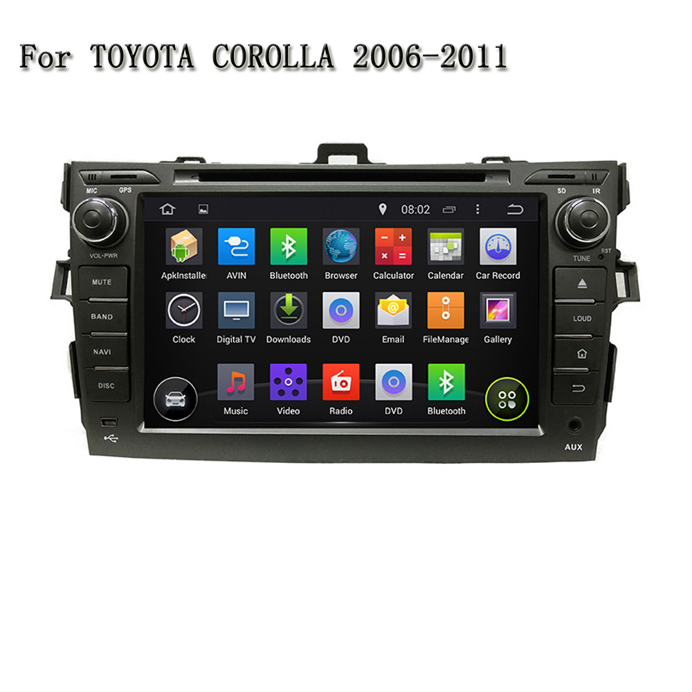8 Inch Android 5.1.1 Quad Core Car Navigation Support Video Output DVR TPMS With BT Mirror Link For Toyota COROLLA 2006-2011