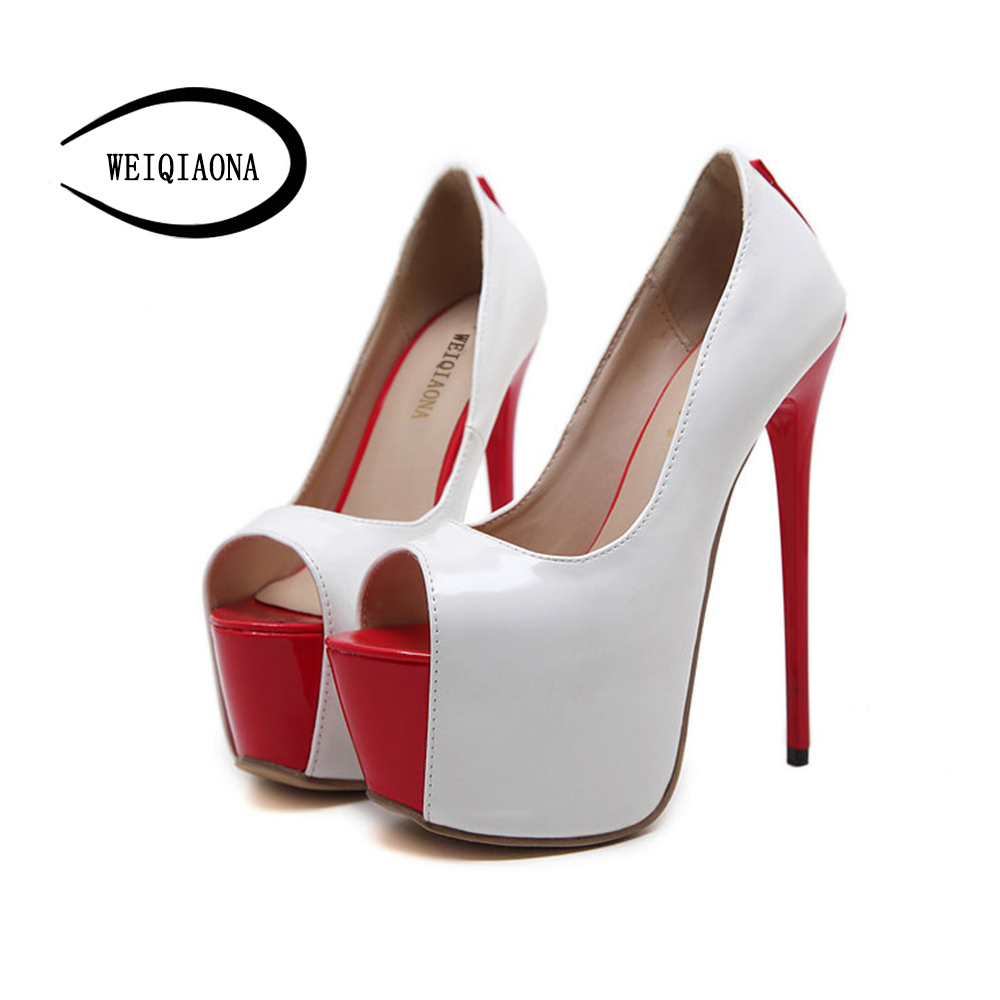 WEIQIAONA New sexy women's Pumps 16cm super high heels Party Stage Ladies stilettos Shoes Peep toe Waterproof singles shoes weiqiaona european 2018 women new fashion show leather snake skin rhinestone flowers high heel sandalss sexy ladies party shoes