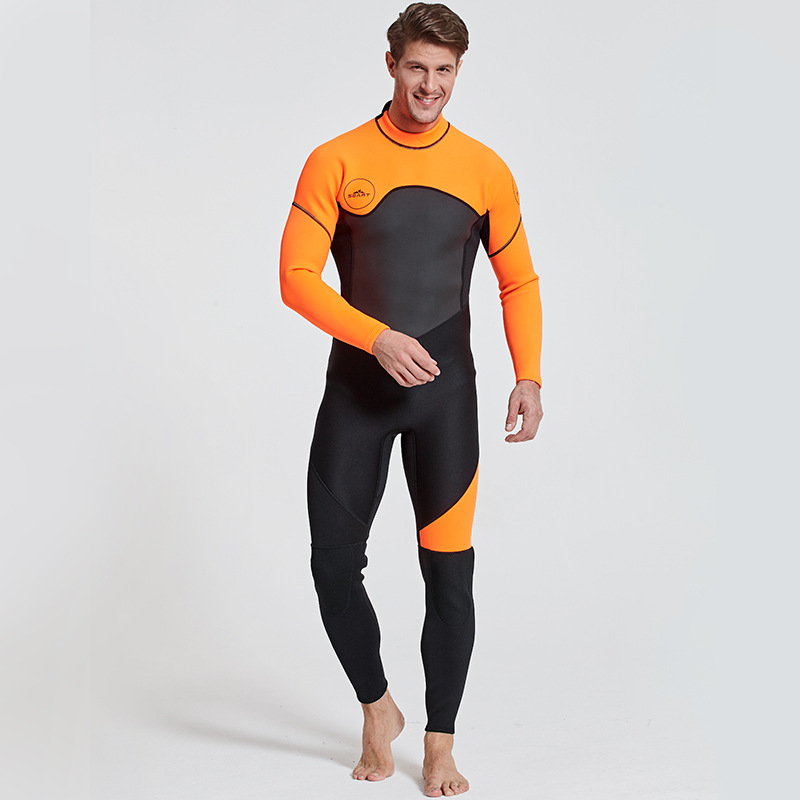 Men's Full Body Wetsuit, 3mm Neoprene Long Sleeves Dive Suit - Perfect For Swimming/Scuba Diving/Snorkeling/Surfing Orange