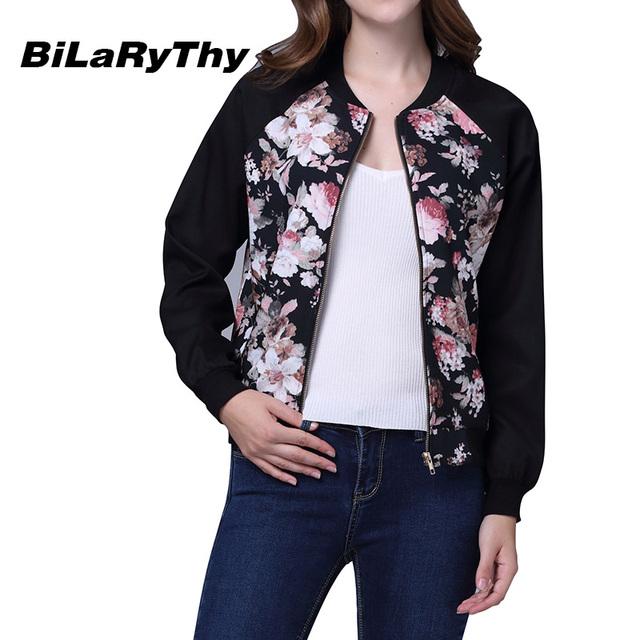BiLaRyThy Outono Inverno das Mulheres da Moda Floral Impressão Uniforme de Beisebol Jaqueta Casual Fino Outwear Básico