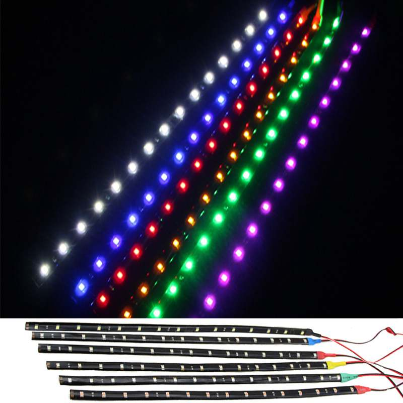 Waterproof Car Auto Decorative Flexible LED Light Strip 12V 30cm 15SMD Car LED Daytime Running Light Car LED Strip Light DRL daytime running light 100% waterproof led drl white and red color day light fog light turning signal flexible car running light