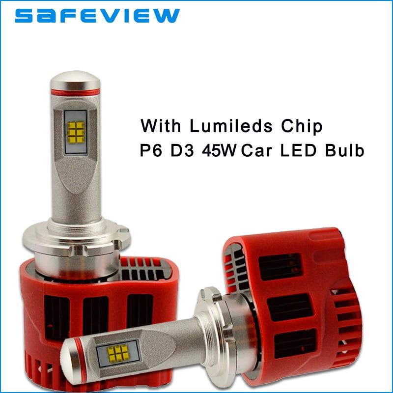 high power 45W 9000LM D3S D3R socket LED Headlight bulb P6 Canbus ZES chip LEDlamp Kit