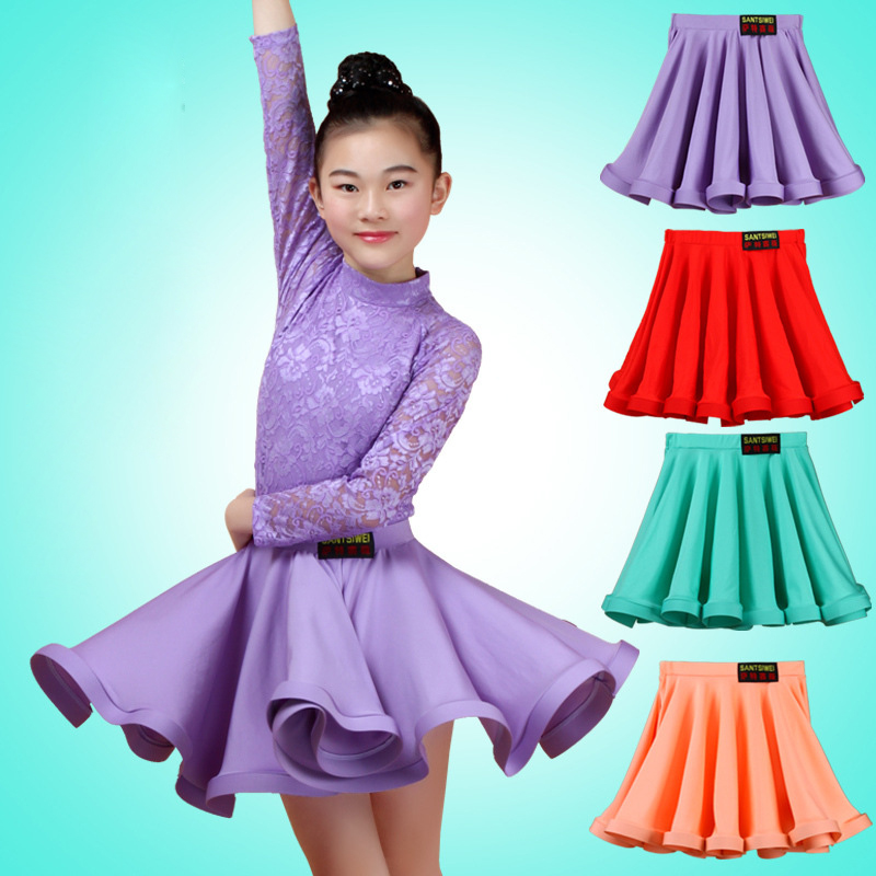 New Children Ballroom Latin Dance Skirt Girls Competition Provisions Latino Dancing Half Skirts For Cha Cha Performance Clothes