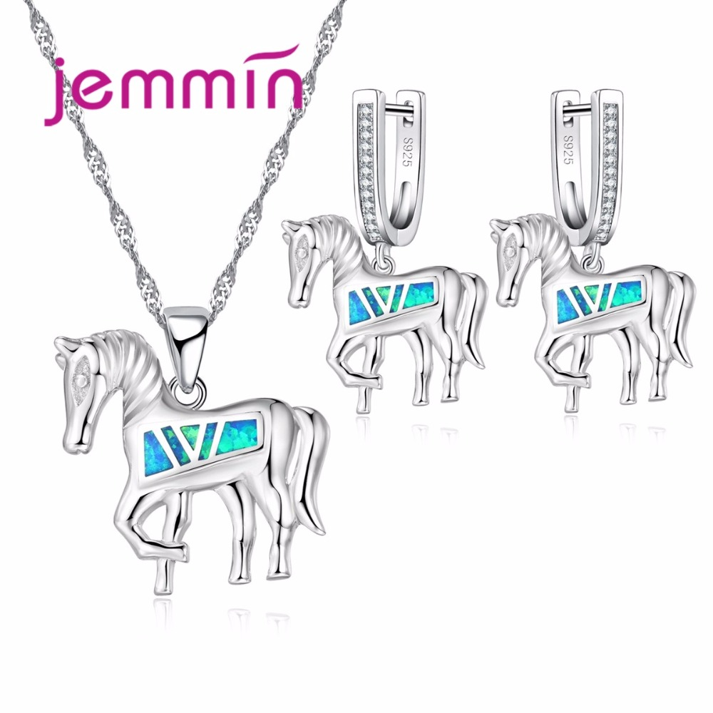 Jemmin New Horse Jewelry Set with Blue Fire Opal Stone Exquisite Design Animal Pendant Necklace & Earrings 925 Sterling SilverJemmin New Horse Jewelry Set with Blue Fire Opal Stone Exquisite Design Animal Pendant Necklace & Earrings 925 Sterling Silver