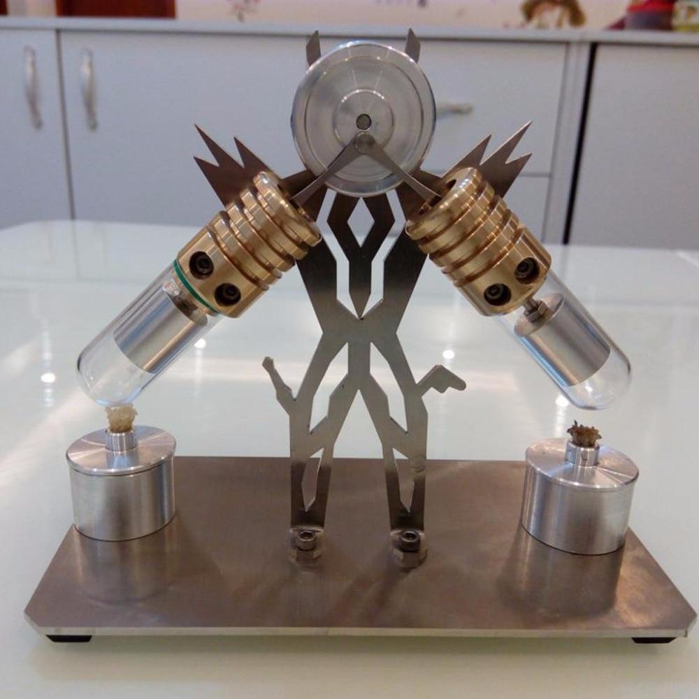 V образная муфта Стирлинга Модель двигателя, подарки на день рождения, сделай сам творчество, машина Супермен, научная головоломка - 3