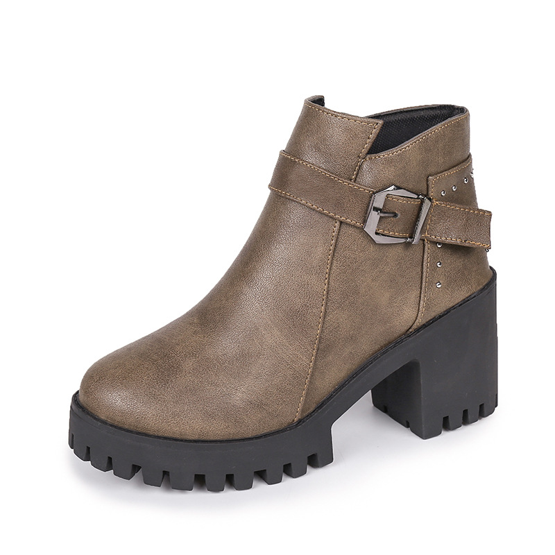 2019 autumn and winter European and American belt buckle side pull round head women's booties gray 0228