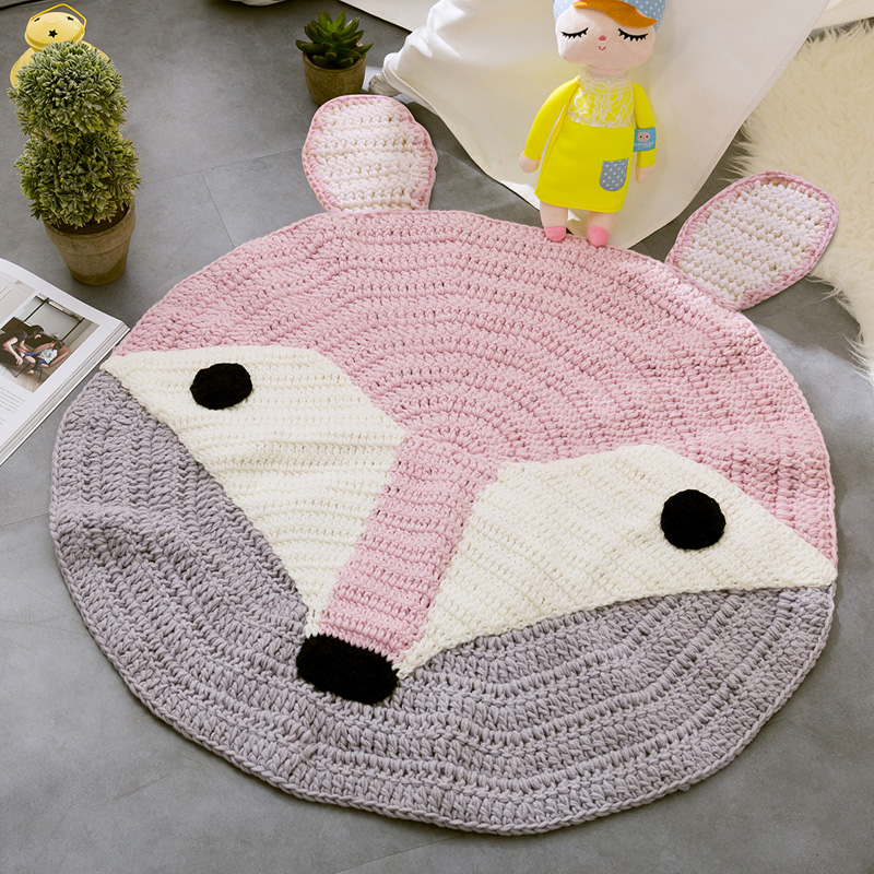 Kids Room Cartoon Game Carpets for Living Room Hand-made Animal Round Mats And Rugs Doormat Bedroom Crawl Mat/carpets tapis