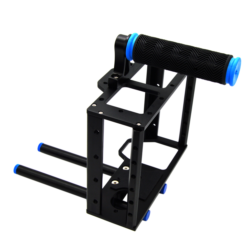 цена на 15mm Rod Rig DSLR Camera Video Cage with Top Handle Grip Kit Professional Camera Stabilizer Cage for Canon 5D Mark I