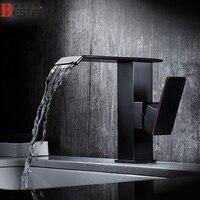 Смесители для умывальника черный матовый Медь водопад Ванная комната кран площадь одной ручкой высокое Ванная Комната Раковина Водопад кр
