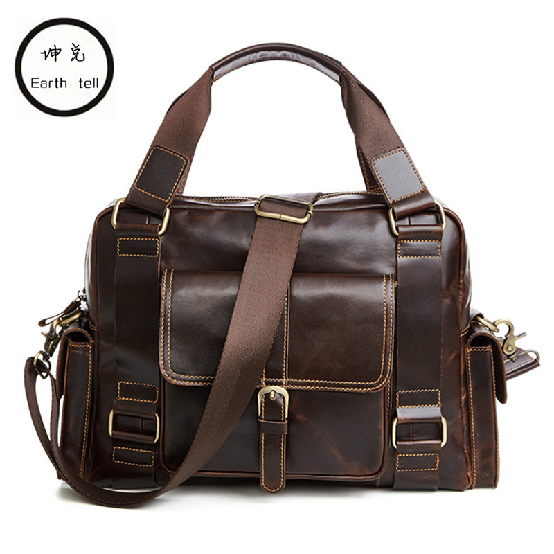 Earth tell Men Crazy Horse Genuine Leather Man Travel Bag Big Luggage Cowhide Duffle Vintage Handmade Large Tote Shoulder Bags