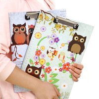 Cute Metal Recycled Paper A4 File Folder Owl Wallet Contract Straight Plate Writing Board Clip School