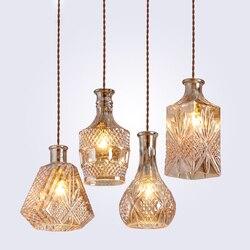Modern Minimalist Vintage Wine Bottle Pendant Lights CafeRoom/<font><b>Bar</b></font> <font><b>Lamp</b></font> Single Glass Pendant <font><b>Lamps</b></font> Decoration Indoor Lighting E27