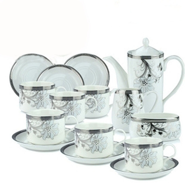 Fine White Coffee Mugs Bone China 15 Piece Porcelain Set Tea Service