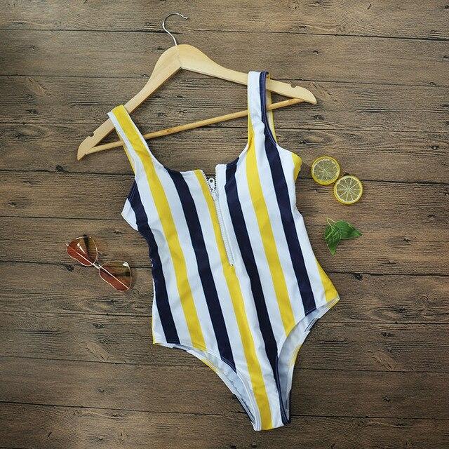 2019 Striped Swimwear One Piece Swimsuit Women Backless Monokini Swimsuit Sport Bodysuit Beach Bathing Suit Swim Red White 3