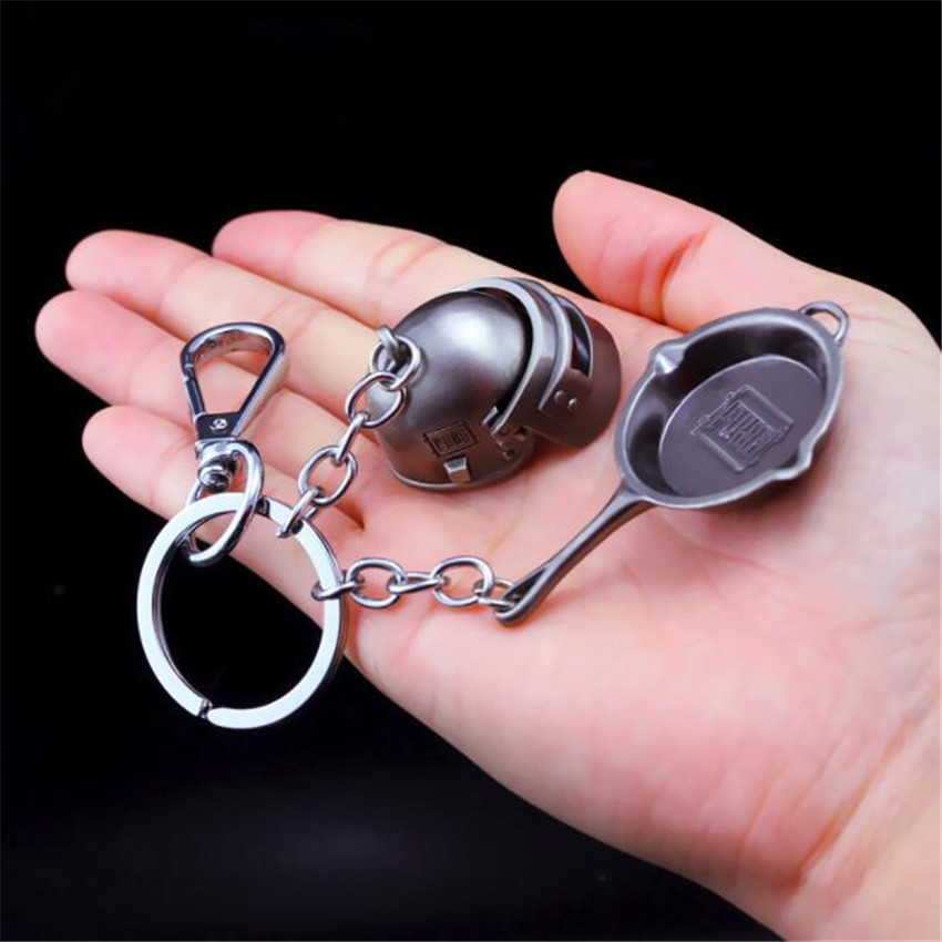 Game PUBG Level 3 Frying Helmet Keyring 98K AWM Playerunknown's Cosplay Props Alloy Armor Model Key Chain Keychain Pan