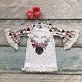 Новое прибытие девочки коралловый олень Геометрические дети одежда dress flare рукав хлопок одежды костюм с соответствующими оголовье