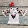 Nuevos bebés de la llegada de coral reno geométrica niños clothing dress flare ropa traje de algodón de manga con diadema a juego