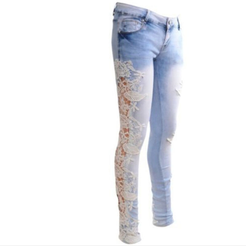 Aliexpress.com : Buy Skinny Jeans Sexy Floral Splice Hollow Out ...