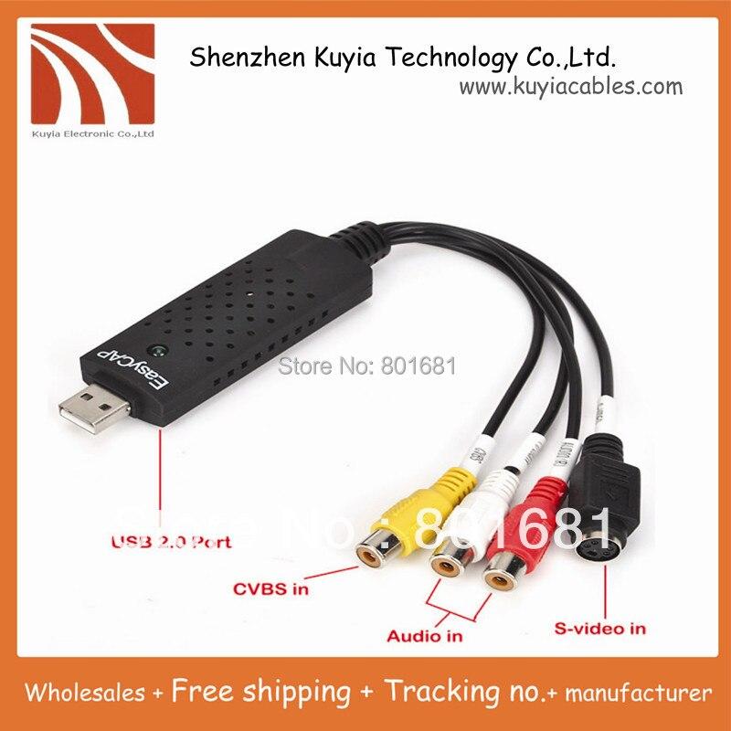 Envío libre + nuevo USB 2.0 easycap dc60 TV DVD VHS Tarjeta de captura de vídeo adaptador audio capture AV