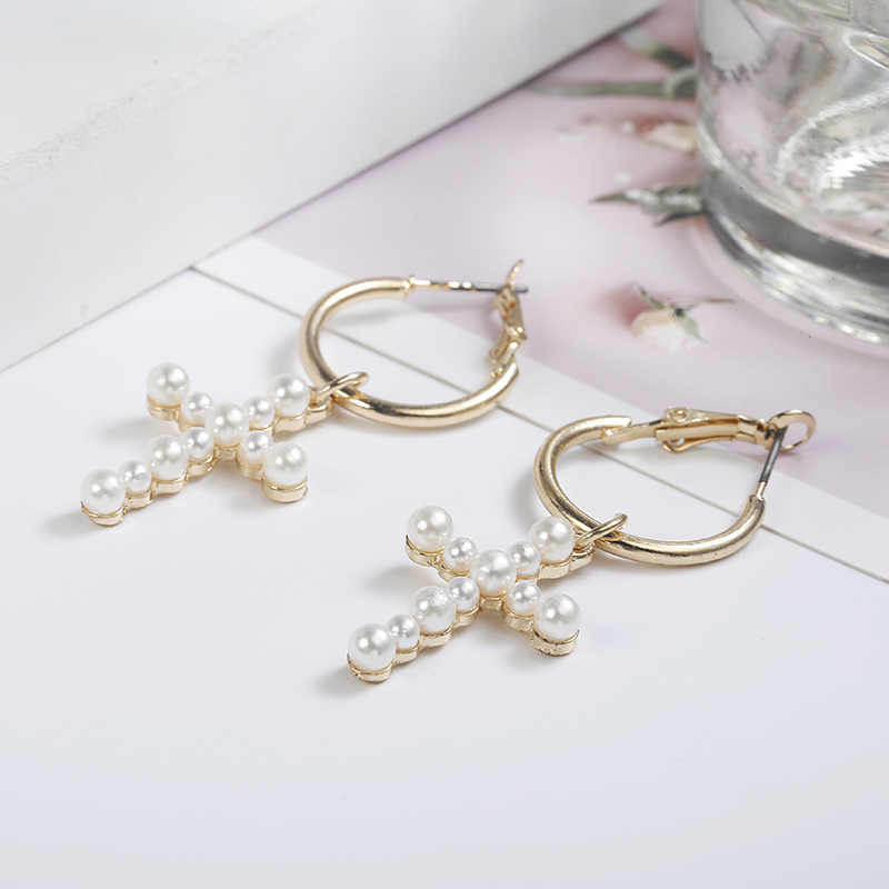 New Fashion Women's Cross Drop Earrings White Imitation Pearl Dangle Earrings Women's Brinco Elegant Gift Jewelry Wholesale EZ11