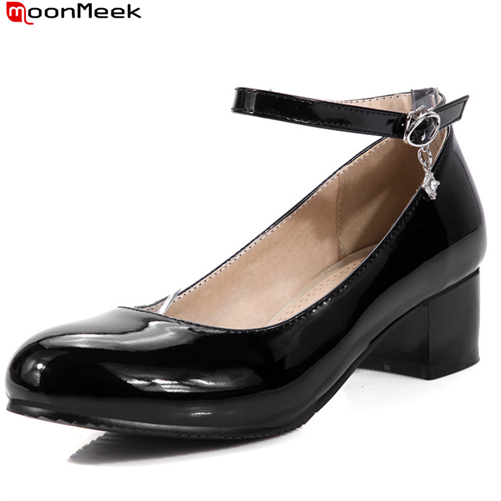 MoonMeek 2018 round toe med heels pumps women shoes with crystal buckle shallow square heel casual dress ladies shoes 2017 shoes women med heels tassel slip on women pumps solid round toe high quality loafers preppy style lady casual shoes 17