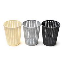 цены на Plastic Hollow Round Storage Basket With Handle Portable Rattan Paper Pen Debris Storage Bucket Home Decoration Storage Basket  в интернет-магазинах