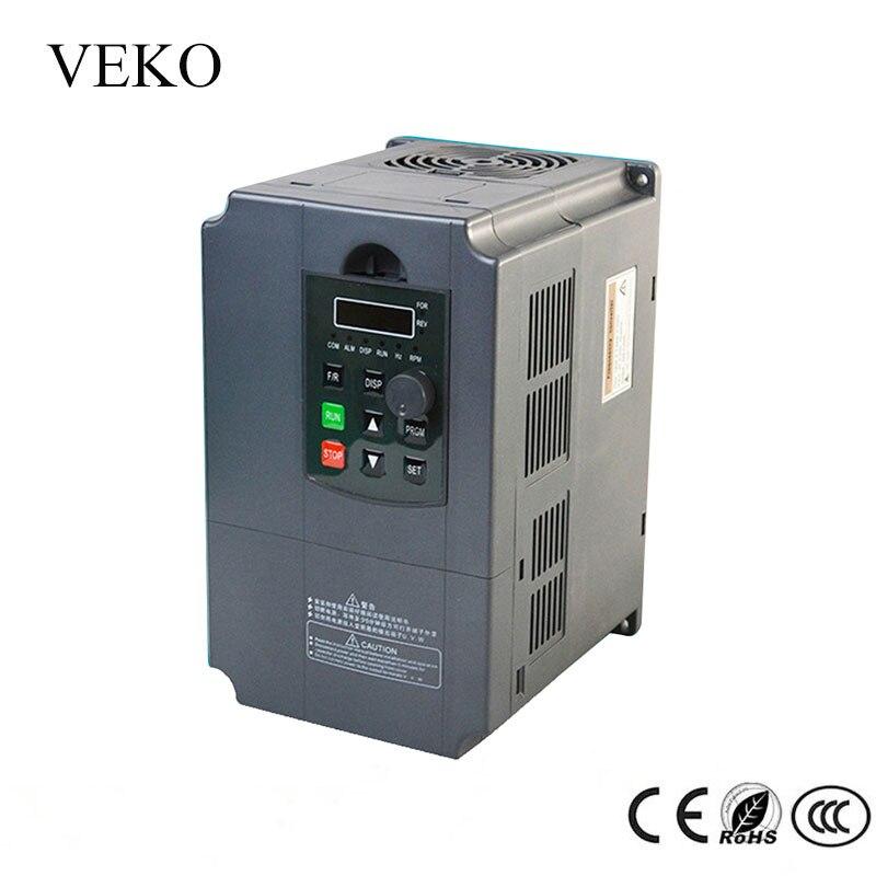 7.5KW 220 V AC Fase Única Entrada 3 30A Saída Fase Conversor De Frequência VFD Inversor De Freqüência Do Motor Driver Controlador 50 /60Hz
