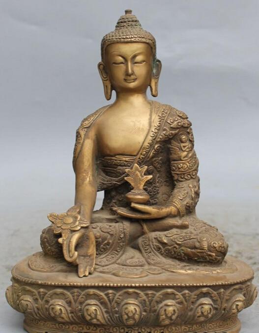 10 China Tibet Buddhism Temple Bronze Menla Medicine Buddha medical God Statue R0707 (B0328)10 China Tibet Buddhism Temple Bronze Menla Medicine Buddha medical God Statue R0707 (B0328)