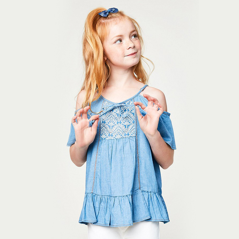 England Girls Jeans T-shirts Summer Lace Fashion Tops Kids Casual Shoulderless Tops Free Shipping