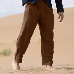 Для мужчин s брюки для девочек jogger Винтаж Лето повседневное Твердые повседневное хлопковое белье длинные брюки celana panjang pria шаровары мужчин