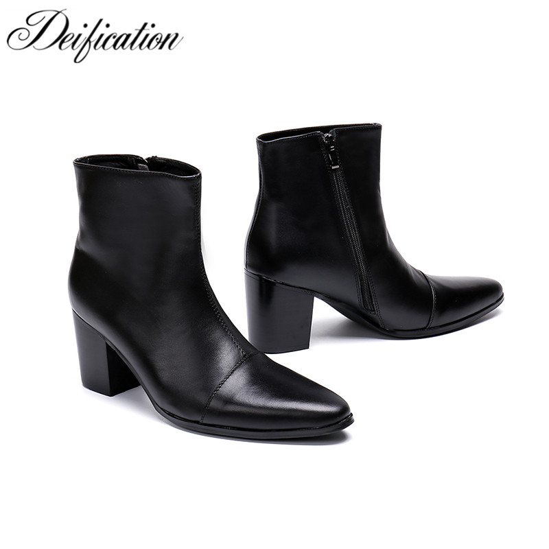 Deification Winter High Heels Men Boots Black Split Leather Military Tactical Boots Luxury Brand Men Shoes Booties Sepatu Pria