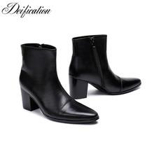 Deification Winter High Heels Men Boots Black Split Leather Military Tactical Luxury Brand Shoes Booties Sepatu Pria
