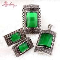 מלבן ירוק CZ קריסטל חרוזים בסגנון עתיק טיבטי כסף קלאסי קצר נשית בסגנון אופנה תכשיטים, משלוח חינם