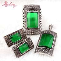 Rectangle Green CZ Crystal Beads Antiqued Tibetan Silver Classical Fashion Style Female Short Jewelry,Free Shipping