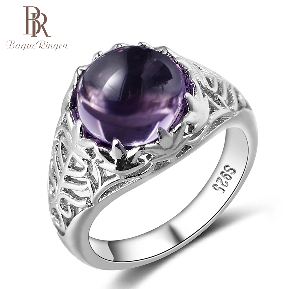 Engagement Rings Amethyst Fine-Jewelry Wedding Natural Vintage Women 100%925-Sterling-Silver